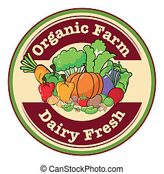 A round template with an organic farm and dairy fresh label