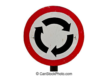 A roundabout sign isolate on white background