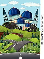 a, route, à, beau, mosquée