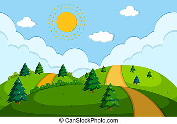 a, route, dans, beau, nature