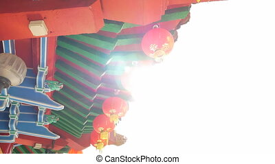 A row of backlit lantern hanging off a buddhist temple...