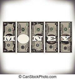 A row of bills money graphic