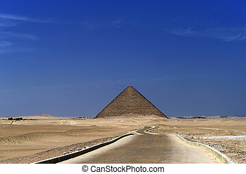 Pyramids - A row of camels transport tourists in front of...