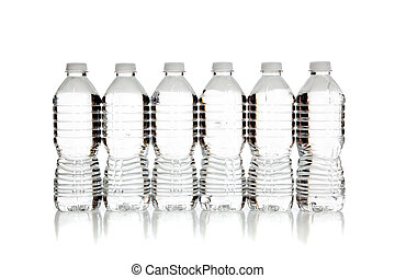 a Row of clear water bottles on white