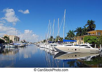 A Row of Docked Sailboats