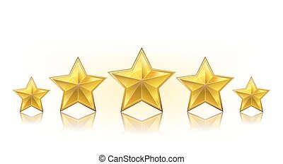a row of golden realistic stars on white