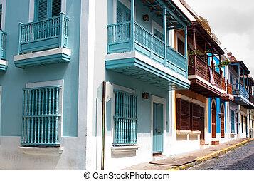 Old San Juan - A row of homes in Old San Juan, Puerto Rico