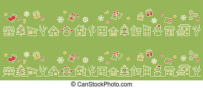 a row of houses and trees - line drawing and color - four colors Christmas version of green background