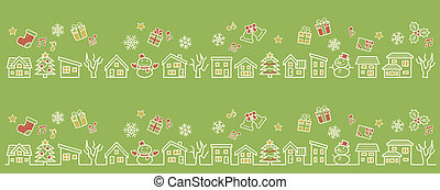 a row of houses and trees - rough line and scribble color - four colors Christmas version of green background