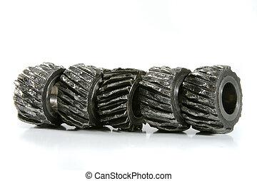 A row of metal gears