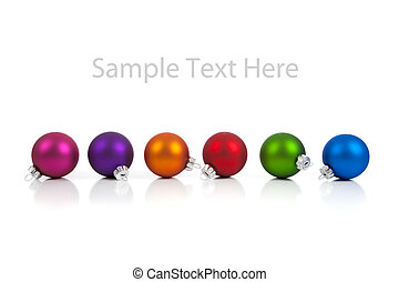 a row of Multi-colored christmas ornament/baubles on white with copy space