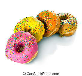 A row of multicolored donuts on a white background