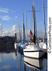 A row of sailboats.