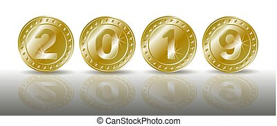 A row of symbolic sparkling gold coins with the numbers of the new year 2019 with shadaow and mirror reflection. Realistic vector illustration