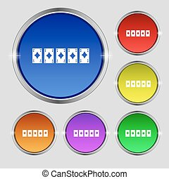 A royal straight flush playing cards poker hand in hearts icon sign. Round symbol on bright colourful buttons. Vector