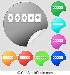 A royal straight flush playing cards poker hand in hearts icon sign. Set of eight multi colored round buttons, stickers. Vector