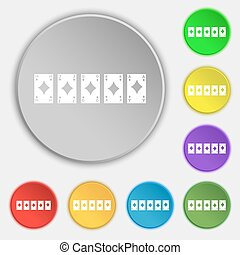 A royal straight flush playing cards poker hand in hearts icon sign. Symbol on eight flat buttons. Vector