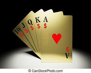 A royal straight flush playing cards poker hand with money symbol/