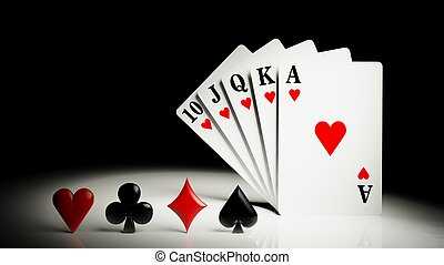 A royal straight flush playing cards poker hand