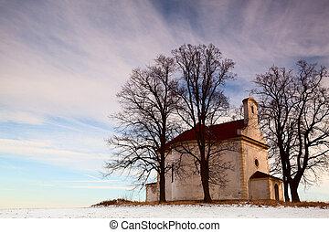 a, ruínas, pequeno, igreja