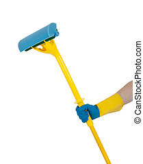 A rubber glove holding a mop on white