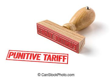 A rubber stamp on a white background - Punitive tariff