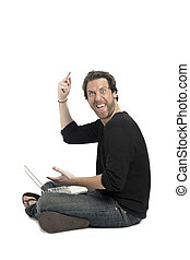 a rude man with laptop showing his middle finger