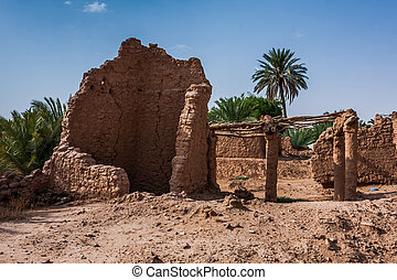 A ruined and abandoned traditional Arab mudbrick house in Riyadh Province, Saudi Arabia