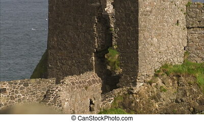 A ruined castle pillar - A steady scenic shot of a castle's...