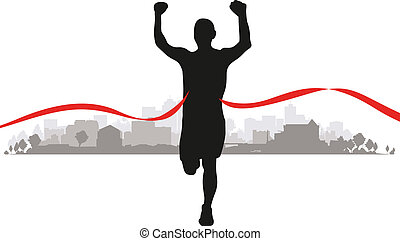 a runner coming to the line through a cityscape background
