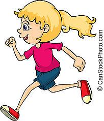 A running girl - Illustration of a running girl on a white...