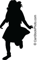 a running girl silhouette vector