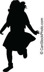 a running girl silhouette vector
