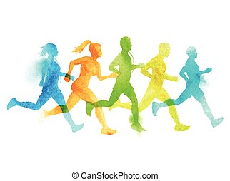A running group of active people, men and women. Watercolour vector illustration.
