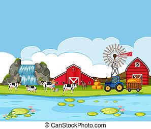 A rural farmland landscape illustration