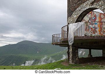 A Russia Georgia friendship monument from the Soviet era in Gudauri ski resort in Caucasus mountains in the Republic of Georgia