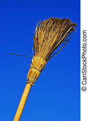 rustic broom - a rustic broom over the blue sky