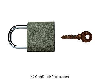 A rusty key