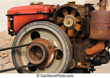A rusty of old diesel engine