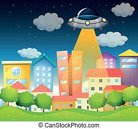 a, rymdskepp, ovanför, den, bebyggelse
