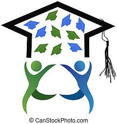 a, símbolo, de, graduação