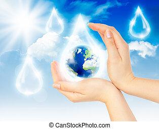 a, símbolo, de, salvar, planet.
