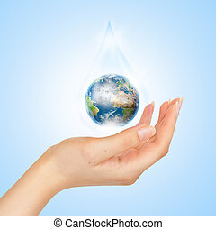 a, símbolo, de, salvar, planeta