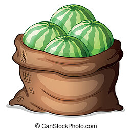 A sack of fresh watermelons - Illustration of a sack of...