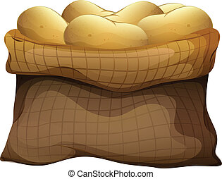 A sack of potatoes - Illustration of a sack of potatoes on a...