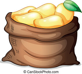 Illustration of a sack of ripe mangoes on a white background