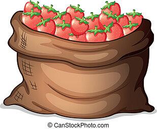 A sack of strawberries