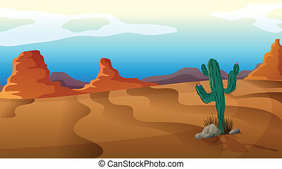 A sad cactus - Illustration of a sad cactus in the middle of...