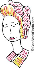 A sad Chinese woman vector or color illustration