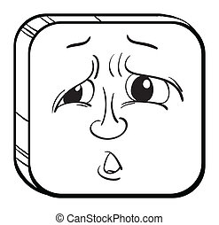 Illustration of a sad face on a white background